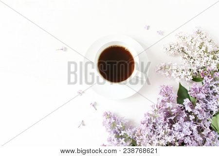 Floral Composition Made Of Beautiful Purple Lilac, Syringa Flowers On White Wooden Background With C