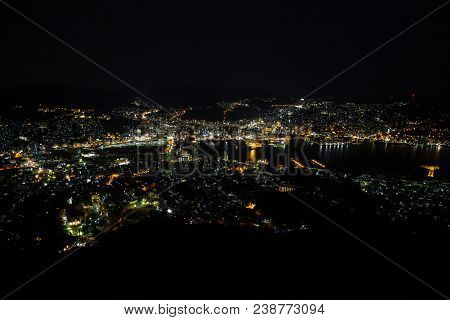 Night View Of Nagasaki City From Mount Inasa (inasayama) In Japan