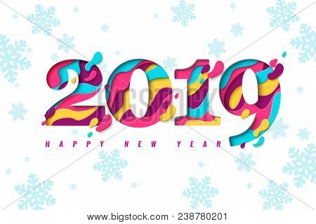2019 Happy New Year Paper Craft Holiday Background With Snowflakes Pattern. Vector Winter Holiday Gr