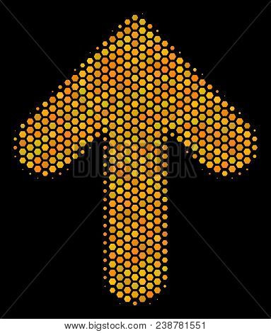 Halftone Hexagon Arrow Direction Icon. Bright Gold Pictogram With Honey Comb Geometric Structure On