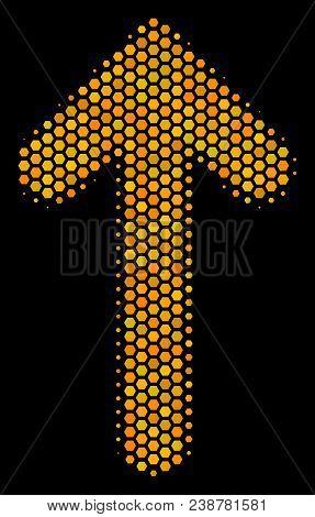 Halftone Hexagonal Arrow Direction Icon. Bright Yellow Pictogram With Honey Comb Geometric Structure