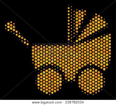 Halftone Hexagonal Baby Carriage Icon. Bright Gold Pictogram With Honey Comb Geometric Structure On