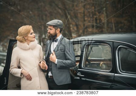 Love And Relations. Love Relations Of Woman In Coat And Bearded Man