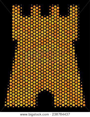 Halftone Hexagonal Bulwark Tower Icon. Bright Yellow Pictogram With Honeycomb Geometric Structure On