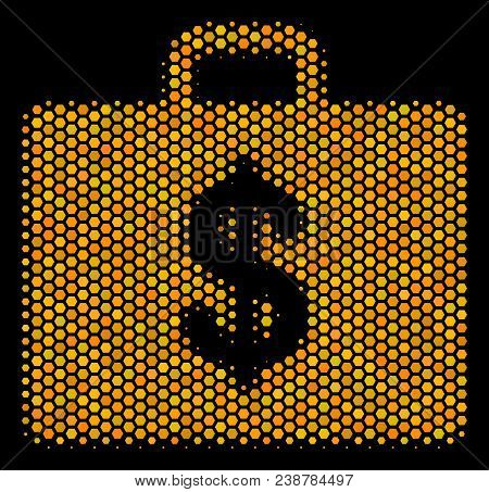 Halftone Hexagon Business Case Icon. Bright Golden Pictogram With Honey Comb Geometric Pattern On A