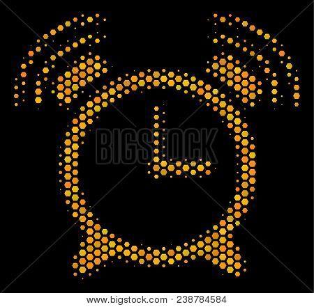 Halftone Hexagonal Buzzer Icon. Bright Yellow Pictogram With Honey Comb Geometric Pattern On A Black