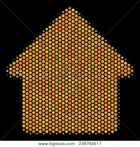 Halftone Hexagon Cabin Icon. Bright Gold Pictogram With Honeycomb Geometric Structure On A Black Bac