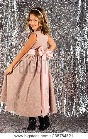 prom dress on pretty small girl. prom, party, celebration. poster
