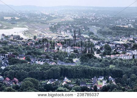Dortmund Horde Aerial View - Urban Area Of Ruhrgebiet In Germany.