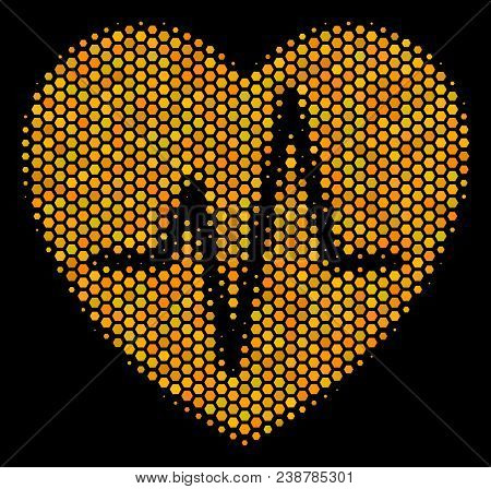 Halftone Hexagonal Cardiology Icon. Bright Gold Pictogram With Honey Comb Geometric Pattern On A Bla