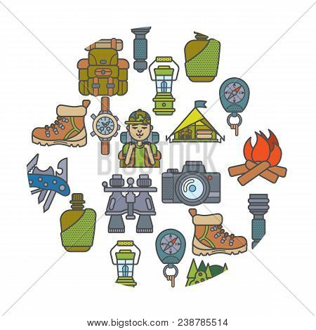 Hiking Equipment And Forest Leasure Vector Icon Set. Mountain Hiking And Trekking Elements. Multitoo
