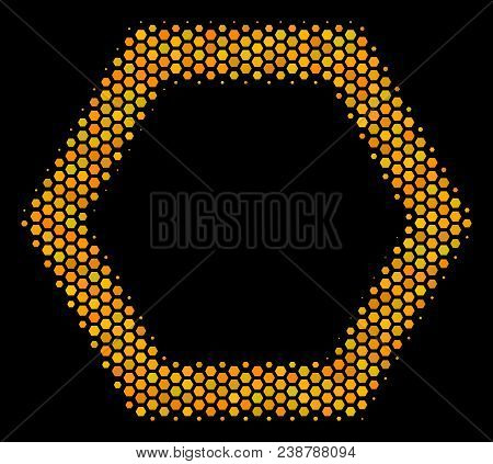Halftone Hexagonal Contour Hexagon Icon. Bright Gold Pictogram With Honeycomb Geometric Structure On