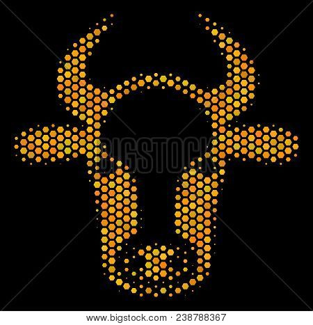 Halftone Hexagon Cow Head Icon. Bright Golden Pictogram With Honey Comb Geometric Structure On A Bla