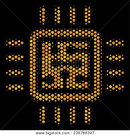 Halftone Hexagon Cpu Circuit Icon. Bright Golden Pictogram With Honey Comb Geometric Structure On A