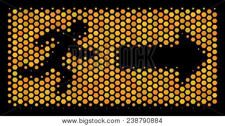 Halftone Hexagon Emergency Exit Icon. Bright Golden Pictogram With Honey Comb Geometric Structure On