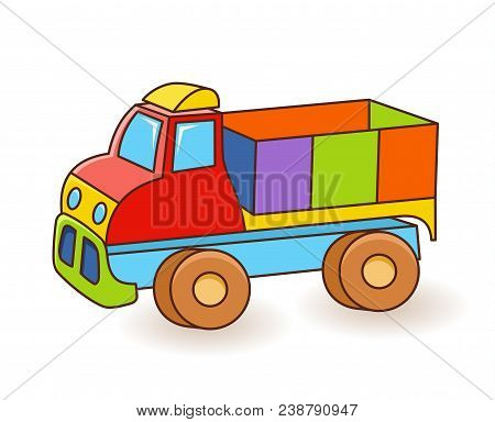 Toy Truck Flash Card. Kids Wall Art. First Word Flashcard. Playroom Decor. Colorful Toy Truck. Carto