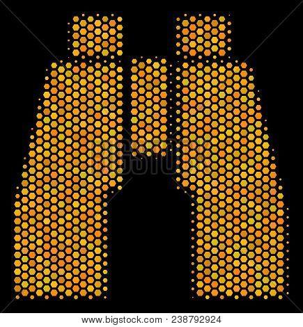 Halftone Hexagonal Find Binoculars Icon. Bright Golden Pictogram With Honey Comb Geometric Pattern O