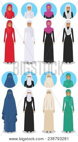 Social And Family Concept. Detailed Illustration Of Different Standing Arab Women In The Traditional