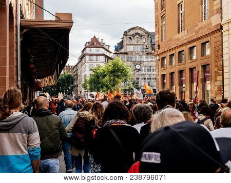 Strasbourg, France - Sep 12, 2018: Entering Place Kleber Square During A French Nationwide Day Of Pr