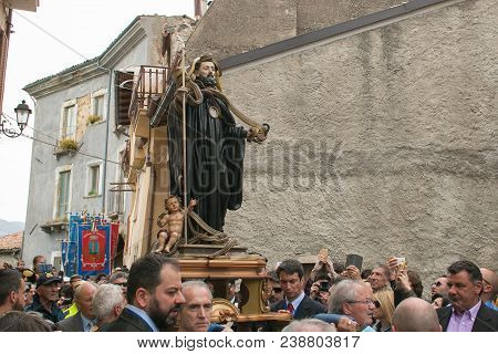 Cocullo, Italy - May 1, 2018: The Statue Of Saint Dominic With The Snakes At The Procession For The