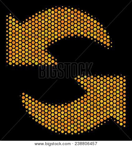 Halftone Hexagonal Refresh Icon. Bright Yellow Pictogram With Honeycomb Geometric Pattern On A Black