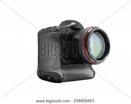 Modern professional camera for professional shooting with a black grasping black 3d rendering on white background no shadow poster