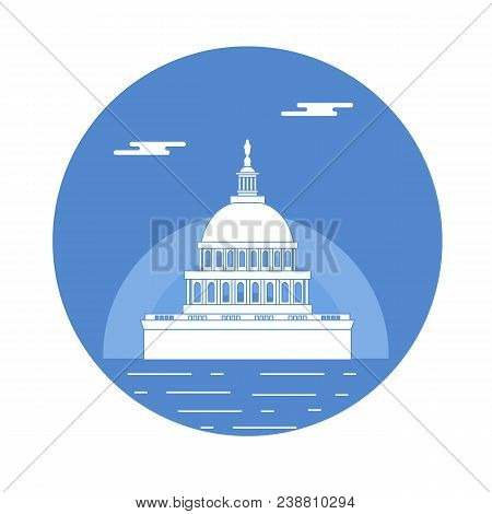 Silhouette Of Famous Building In The Usa. The Capitol Building Of The U.s. Congress. American Symbol