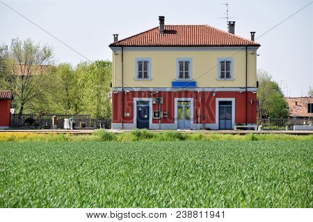 The Small Railway Station Of A Lombard Village Located In The Countryside - Brescia - Italy 05