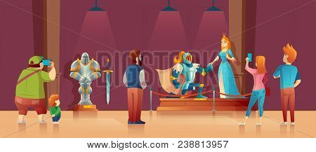 Vector Museum With Visitors, Medieval Exhibition. Armored Knight With Helmet, Princess In Blue Silk