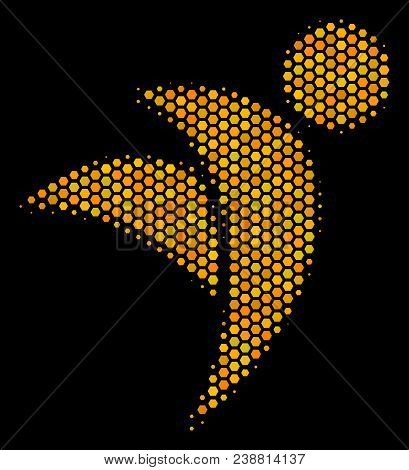 Halftone Hexagonal Winged Man Icon. Bright Golden Pictogram With Honeycomb Geometric Structure On A