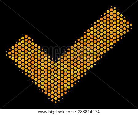 Halftone Hexagonal Yes Icon. Bright Gold Pictogram With Honey Comb Geometric Structure On A Black Ba