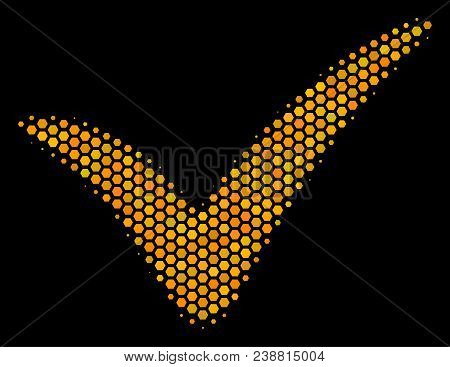 Halftone Hexagon Yes Icon. Bright Golden Pictogram With Honeycomb Geometric Structure On A Black Bac