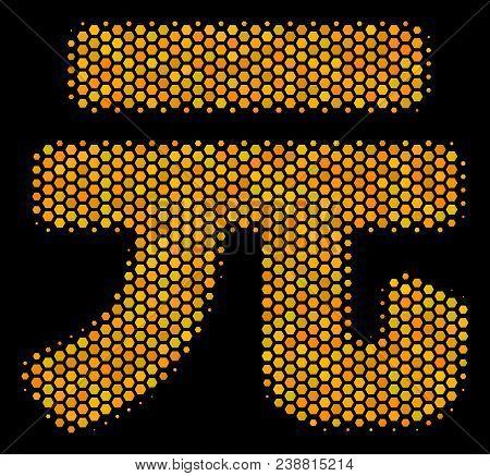 Halftone Hexagonal Yuan Renminbi Icon. Bright Golden Pictogram With Honey Comb Geometric Pattern On