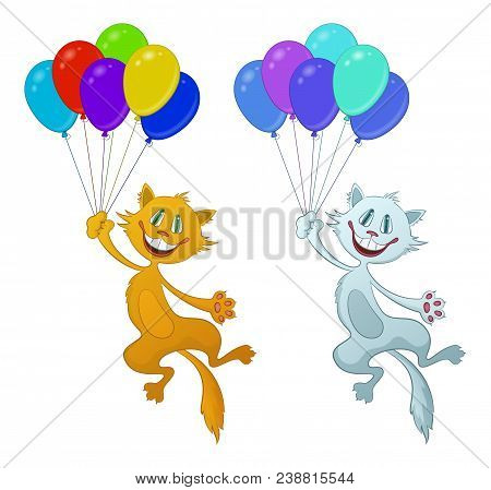 Set Of Cartoon Cats, Red And White Funny Pets, Smiling And Flying With Bundle Of Colorful Balloons,