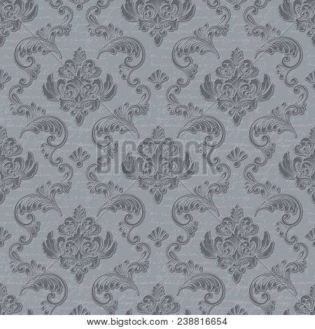 Vector Damask Seamless Pattern Background With Handwriting. Classical Luxury Old Fashioned Damask Or