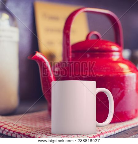 White Coffee Mug Mockup In A Kitchen Setup With A Red Kettle. Great For Overlaying Your Custom Quote