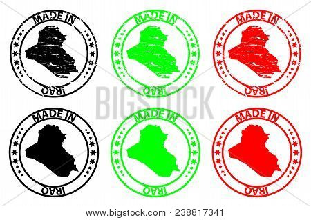 Made In Iraq - Rubber Stamp - Vector, Iraq Map Pattern - Black, Green And Red