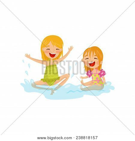 Cheerful Kids Making Water Splashes. Children Having Fun At Sea. Summer Recreation. Outdoor Activity