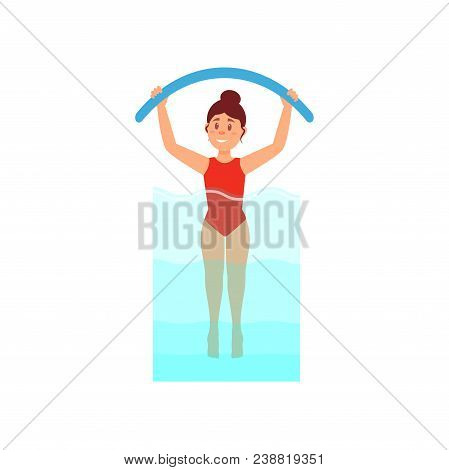 Woman Engaged In Aqua Aerobics With Noodle. Workout In Swimming Pool. Active And Healthy Lifestyle.