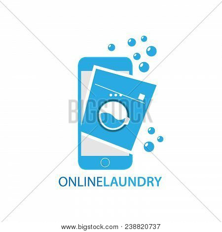 Online Laundry Services Concept Vector Illustration. Laundry Mobile Phone With Washing Machine.