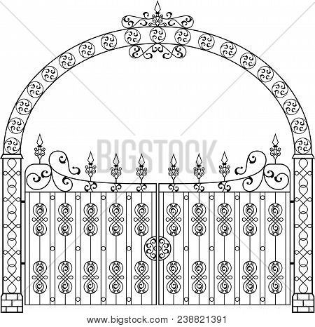 Wrought Iron Gate With Arch Vector Art Illustration