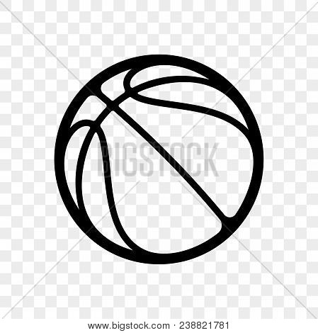 Basketball Logo Vector Icon Isolated On Transparent Background. Vector Outline Sport Emblem For Bask