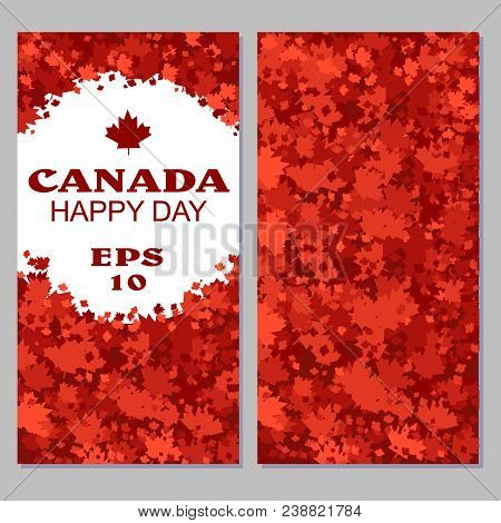 Canada Flag With Fireworks For Celebrate The National Day Of Canada. Stock Vector.