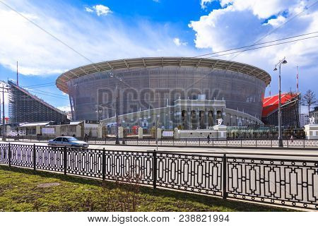 Yekaterinburg, Russia May 01, 2018. The new stadium for the 2018 world championship football (soccer).