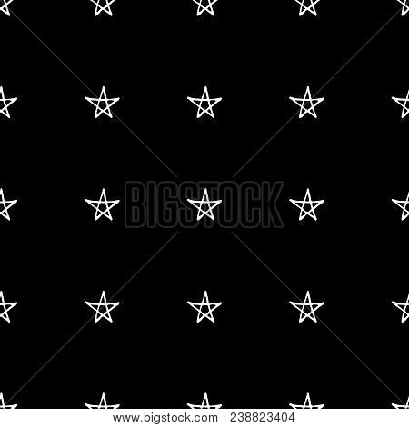Cute Cartoon Stars Background With Hand Drawn Sweet Vector Black And White
