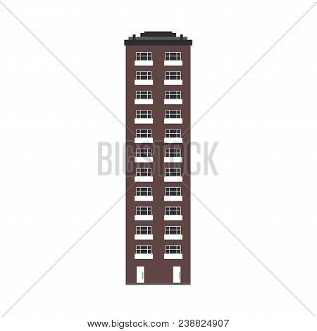 City Skyline Element - Multi Storey Apartment House Front View In Flat Style Isolated On White Backg