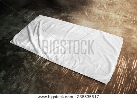 Blank White Beach Towel Mockup On Textured Floor, Side View. Clear Unfolded Wiper Mock Up Lying On T