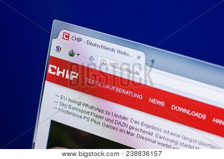 Ryazan, Russia - April 29, 2018: Homepage Of Chip Website On The Display Of Pc, Url - Chip.de.