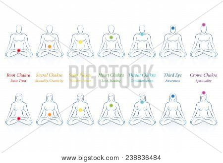 Chakras With Names And Meanings. Meditating Men And Women In Sitting Zen Yoga Meditation With Seven