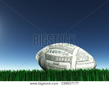Game ball in $100 colors. 3D rendering